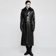 Punk Rave Time Line Agent Buttoned Fur & Leather Long Coat Black Y-818