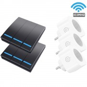 SMATRUL WHK-D07-2 433MHZ WiFi 2Pcs 3-Gang Wireless Switch Key-pressing with 3 Plug Controllers - EU Plug/Black