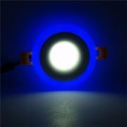 EY 6W + 3W Color De La Luz De Panel Plano Circular Es Blanco Azul + AC: 85V-265V