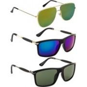 NuVew Rectangular, Retro Square Sunglasses(Blue, Grey, Golden, Green)