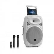 "Auna Streetstar 12 Equipo PA móvil de 12"" (30,5 cm) 2 x micrófonos UHF 800 W máx. Blanco (Sky2-199.516)"