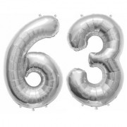 De-Ultimate Solid Silver Color 2 Digit Number (63) 3d Foil Balloon for Birthday Celebration Anniversary Parties