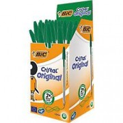 Bolígrafo BIC Cristal verde mediano 50 unidades