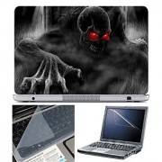 FineArts Laptop Skin 15.6 Inch With Key Guard & Screen Protector - Black Ghost Red Eye