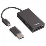 Hama USB 2.0 OTG Хъб/четец за карти за смартфони, таблети, лаптопи, PC, черен - HAMA-54141