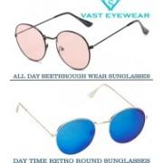 Vast Round Sunglasses(Pink, Blue)