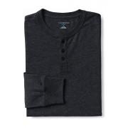 ランズエンド LANDS' END メンズ・スーパーT/ヘンリーネック/長袖/Tシャツ(ダークチャコールヘザー)