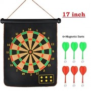 Bighub Double Faced Portable, Foldable High Quality Magnetic Dart Game with 6 Colourful Non Pointed Darts. Strong Magnetic Power and Solid Darts Stick ( 17 inch Big Size )