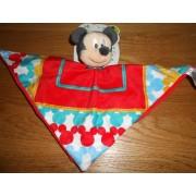 Doudou Souris Mickey Mouse Disney Baby Plat Rouge Peluche Bebe Naissance Tetes De Mickeys Carre