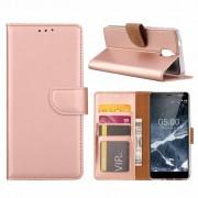 Luxe Lederen Bookcase hoesje voor de Nokia 3.1 - Metallic Roze