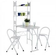 IDIMEX Ensemble table de cuisine pliable avec étagères et 2 chaises JONATHAN, blanc