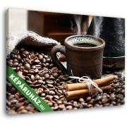 Egy csésze gőzölgő kávé, barna csészében (35x25 cm, Vászonkép )