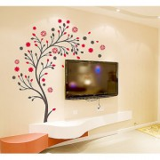 Walltola PVC Multicolor TV Background Floral Wall Sticker (60X90 Cm) (No of Pieces 1)