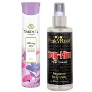 Yardley Morning Dew Refreshing Body Spray 150ml and Pink Root Tag-Him Pour Homme Fragrance body Spray 200ml Pack of 2