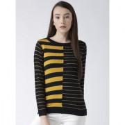 Club York women's round neck full sleeve colorblocked sweater