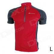 NUCKILY NJ601 Montana / carretera bicicleta de ciclo Jersey de manga corta - rojo + negro (talla L)