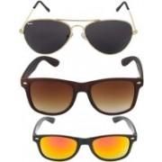 EDDYFASHIONHUB Aviator, Wayfarer Sunglasses(Red, Brown, Black)