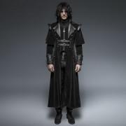 Punk Rave Circumstantial Darkness Zipper & Buckle Long Coat Black Y-636