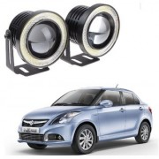 Auto Addict 3.5 High Power Led Projector Fog Light Cob with White Angel Eye Ring 15W Set of 2 For Maruti Suzuki Swift Dzire Type-2(2011-2017)