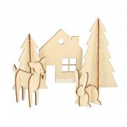 Dille&Kamille Animaux de la forêt 3D, bois, 30 x 21 cm