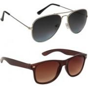 Marabous Aviator, Wayfarer Sunglasses(Black, Grey, Brown)