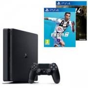 Конзола PlayStation 4 Slim 500GB Black, Sony PS4+Игра FIFA 19 за PlayStation 4+Игра Fallout 4 за Playstation 4