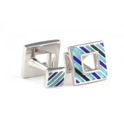 Mousie Bean Enamelled Cufflinks Polo Stripes 149 Tonal Blue