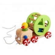 Alcoa Prime Baby Pull along Toys Wood Pulling Duck with Colorful Blocks Educational Toys
