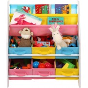 Kinderkamer Opbergkast - Speelgoedrek Boekenrek - Kinder Organizer Rek Opbergkast Met 6 Manden - Opberg Kast Voor Speelgoed & Boeken Opbergen - Wit