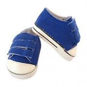 Doll Shoes For 18 Dolls,Boys Girls Sports Velcro Blue Canvas Shoes Fits 18 inch American Girl Boy Doll