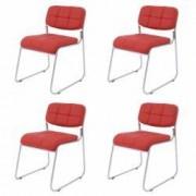 Set 4 scaune bucatarie CB S-13 culoare Rosu Metal cromat