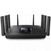 Рутер Linksys EA9500, 5400Mbps, 2.4GHz(1000 Mbps)/5GHz-1(2166 Mbps)/5GHz-2(2166 Mbps), Wireless AC, 8x LAN 1000, 1x WAN 1000, 1x USB 3.0, 1x USB 2.0, 8x външни антени, двуядрен процесор 1.4GHz