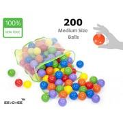 EEVOVEE 200 pcs Color Balls for Kids / Pool Balls Genuine Quality Set of 200 Balls - 6 cm Diameter Similar Size of Tennis Ball