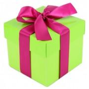 Geen Kado doosjes limegroen met roze strik 10 cm vierkant