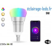 Ampoule LED E14 Smart Wifi dimmable 9w Blanc & Couleurs ref dm-27