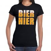 Bellatio Decorations Bier hier tekst t-shirt zwart dames