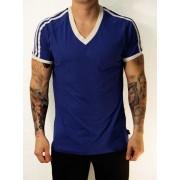 Whittall & Shon Athletic Shoulder Stripes V Neck Short Sleeved T Shirt Royal/White 168