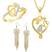 VK Jewels Gold and Rhodium Plated Alloy Earrings Ring Pendant Combo Set for Women Girls made with Cubic Zirconia - COMBO1502G VKCOMBO1502G8