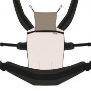Nandu ÖKO Bébi Csatos állítható hordozó - Nyersfehér fekete pánttal