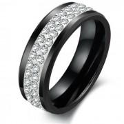 Fekete kerámia gyűrű CZ kristályokkal díszítve