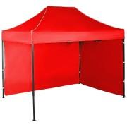 Gyorsan összecsukható sátor 2x3m – acél, Piros, 2 oldalfal