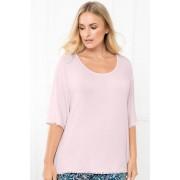 Womens Sara PJ Trim Top - Pink Sleepwear Nightwear