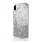 Guess Glitter Hard Case - дизайнерски кейс с висока защита за Apple iPhone X (сребрист)