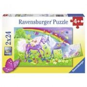Puzzle cai si curcubeu, 2x24 piese Ravensburger