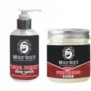 Mister Beard Cool Fresh Body Wash 200ml WITH Skin Whitening Scrub 100g