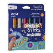 Tempera stift készlet, toll alakú, APLI Kids, 6 különböző metál szín (LCA14405)