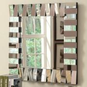 901806 Zig zag multi level rectangles design square frameless decorative wall mirror
