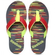 Reebok Men Red & Fluorescent Green Printed Style Flip Lp Flip-Flops