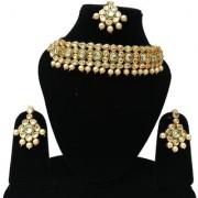 Finekraft Meena Kundan Beautiful Gold Plated Bridal Wedding Pearls Designer Kundan Choker Necklace Jewelry Set