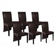 vidaXL Jídelní židle 6 ks z umělé kůže, tmavě hnědé